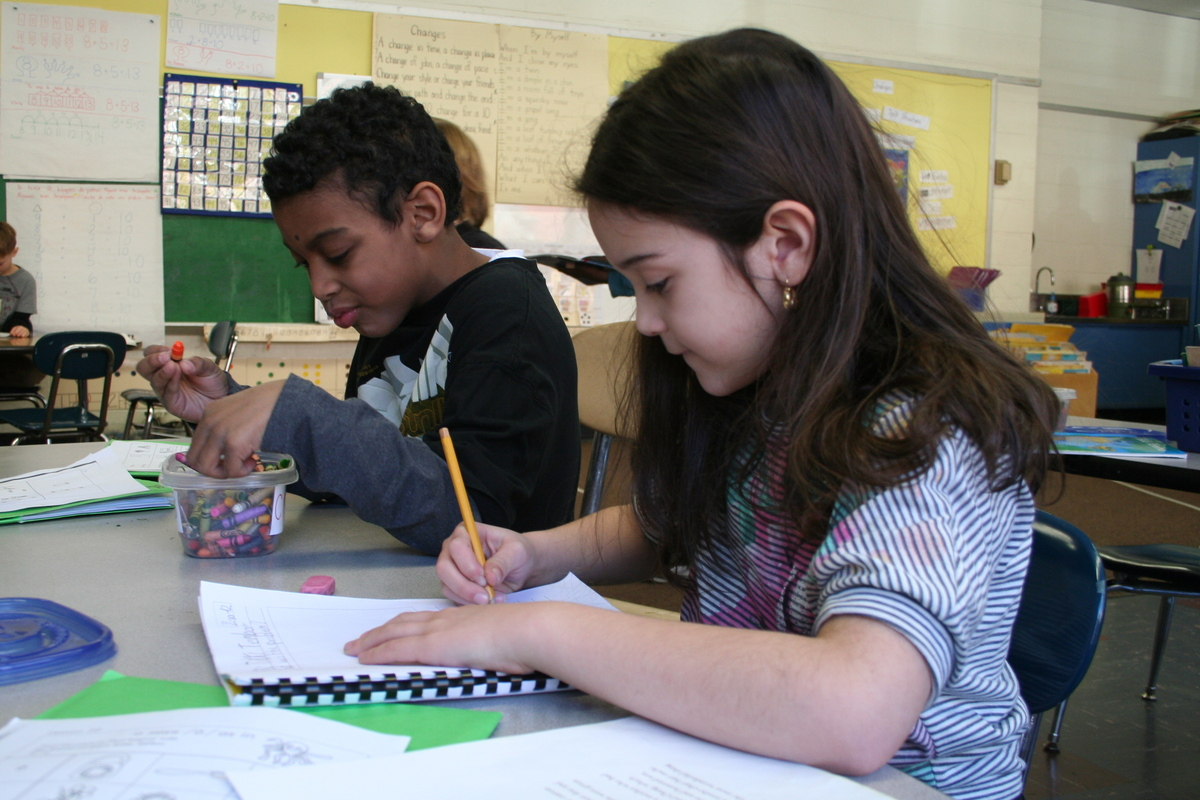 two students working in a Hurley School classroom