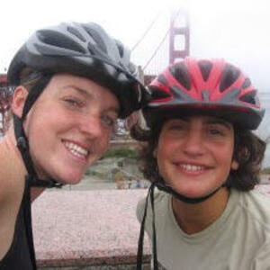 Helen Sullivan and Mrs P with bicycle helmets